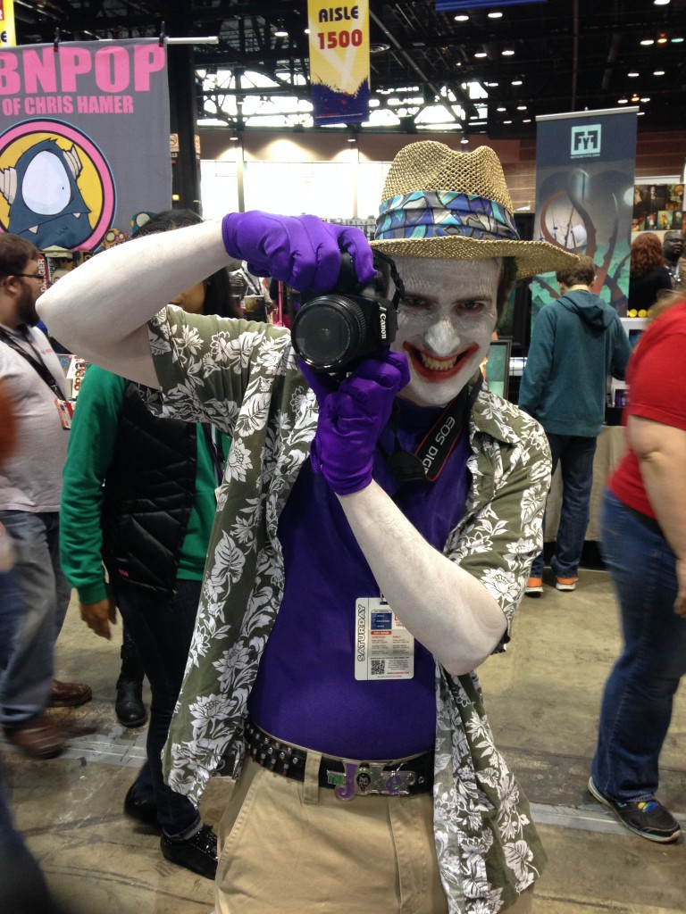 Getting photographed by this guy was scary until he passed by Gail Simone's table and she set him straight.